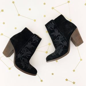 Lucky Brand • Black Embroidered Suede Ankle Boots